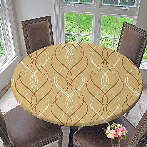 Like Paper Banquet Table Covers - Mikihome Circular Table Cover Line on a Distressed Paper Like Background Brown White for Wedding/Banquet 63