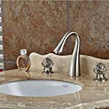 GOWE Elegant Luxury Brushed Nickel Bathroom Basin Faucet Crystal Glass Ball Handles 8'' Vessel Sink Mixer Tap