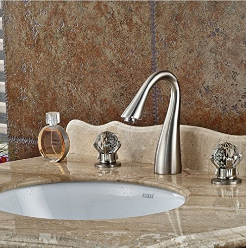 GOWE Elegant Luxury Brushed Nickel Bathroom Basin Faucet Crystal Glass Ball Handles 8'' Vessel Sink Mixer Tap by Gowe (Image #4)