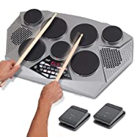 Pyle Pro Electronic Drum kit - Portable Electric Tabletop Drum Set Machine with Digital Panel