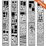 #3: Bullet Journal Stencils, 20 PCS Plastic Planner Stencil with Different Patterns for Journaling/Scrap booking/Notebook/Diary/Drawing/Card and DIY Craft, 4X7 Inch, White