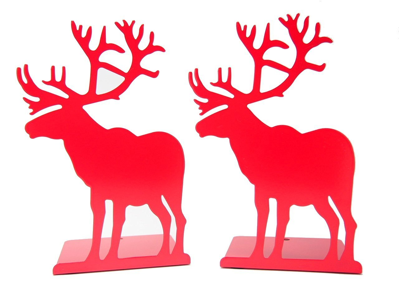 Winterworm Fashion Creative Cartoon Cute Iron Elk Moose Pattern Nonskid Metal Office Desk Bookends (Pink)