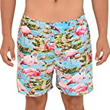 ISLAND STYLE CLOTHING Mens Turquoise Flamingo Loud Casual Shorts Soft Rayon Beach Party