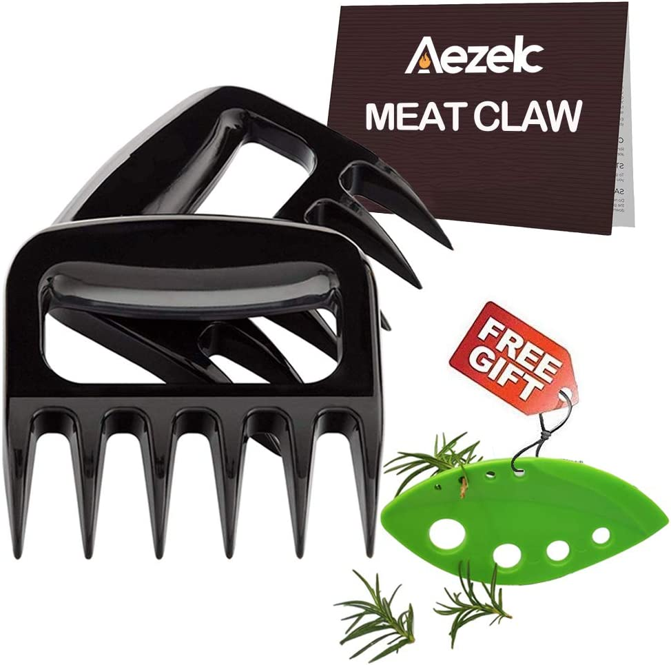 Aezek Meat Claws, Bear Claws Meat Shredder, BBQ Accessories, Pulled Pork Shredder Claws, Easily Lift, Handle, Shred, and Cut Meats, Essential for BBQ Pros - Ultra-Sharp Blades and Heat Resistant Nylon
