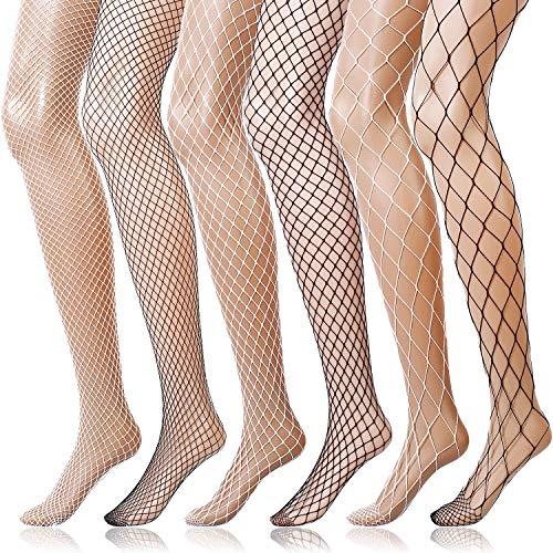 6 Pairs Fishnet Stockings Women's High Waist Fishnet Tights for Girls Ladies(3 Black, 3 White, M/L/XL Hole)
