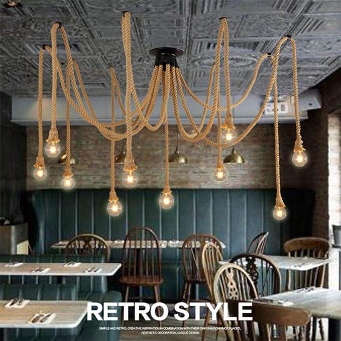 E27 Douille Rétro Lustre Plafond Lampe Suspensions ajustable Rétro Lustre plafond Lampe en Corde de chanvre PR Bar Rope Cafe Stair Restaurant Studio