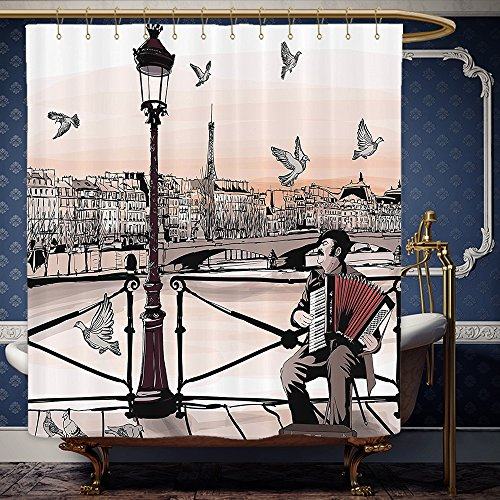 Wanranhome Custom-made shower curtain MusicAccordionist Playing Paris Street Urban European Famous Town City Panorama Graphic Scene Peach Brown For Bathroom Decoration 72 x 96 - Main Street Galleria