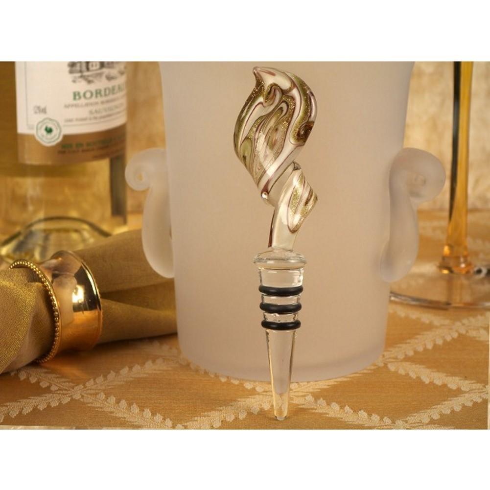 Murano Art Deco Swirl Design Bottle Stopper Gold and White - 60 Pieces