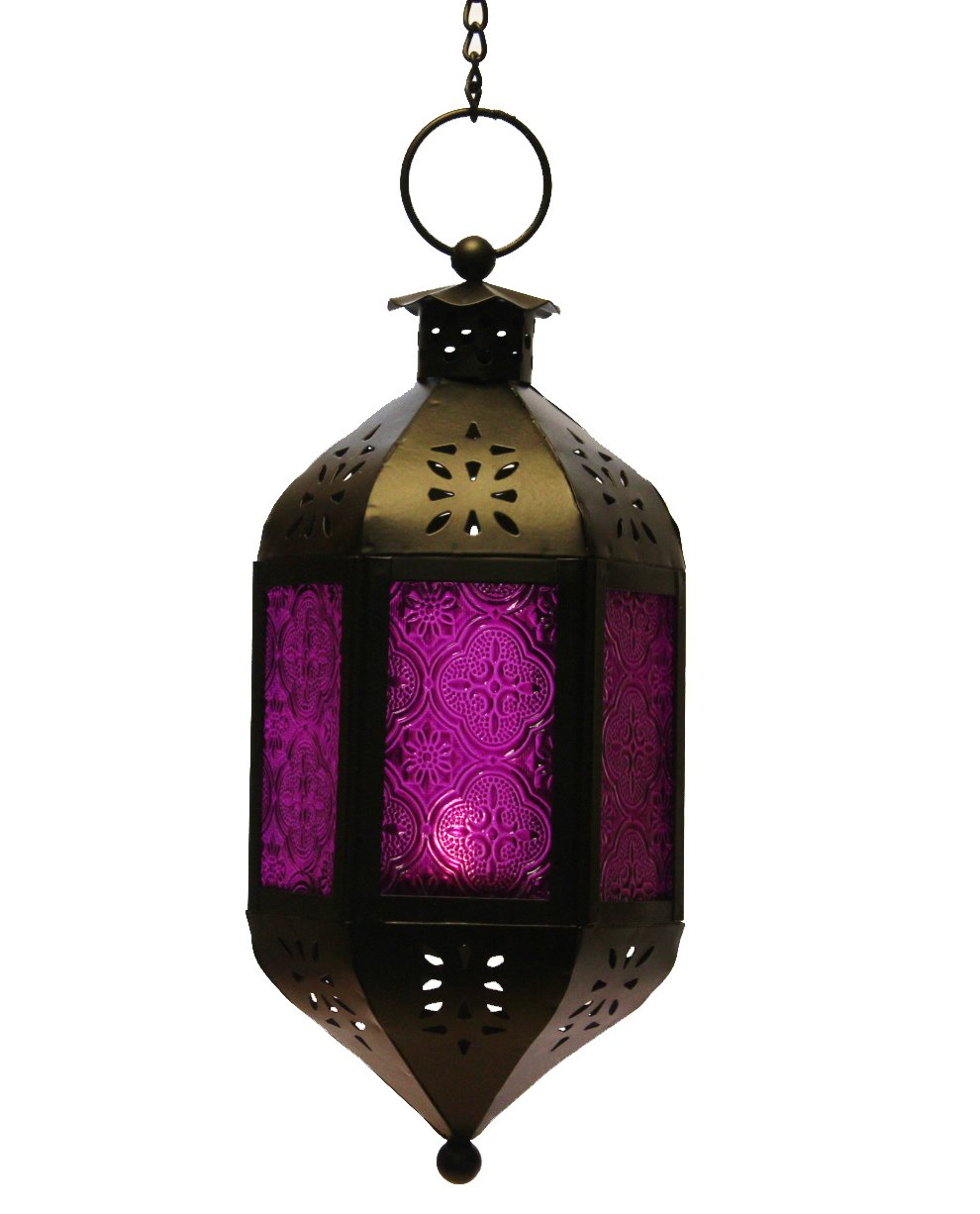 Amazon.com: Purple Glass Hanging Moroccan Candle Lantern with ...