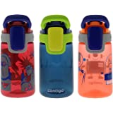 Contigo Autospout Gizmo 康迪克 儿童自动密封水奶瓶 14盎司 3件装 鲜红色/海蓝色/油桃色