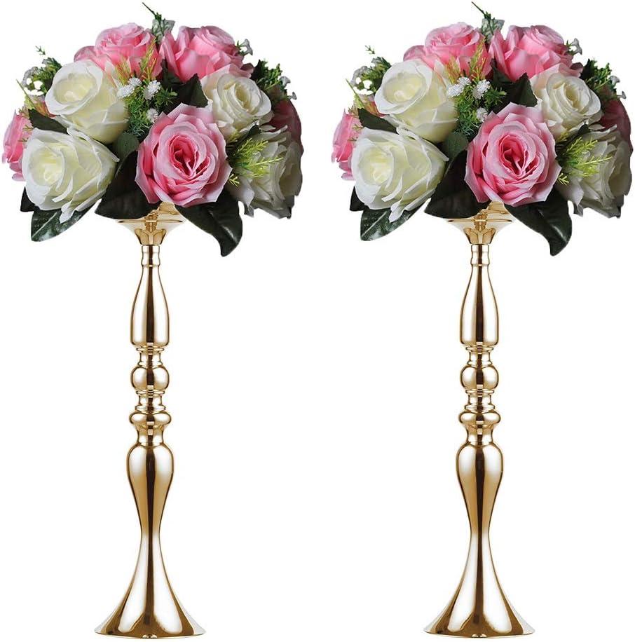 Sziqiqi Metallic Vase Centerpiece Stand Tall Pillar Candle Holder 2Pcs for Wedding Table Centerpiece Flower Arrangement Birthday Anniversary Party Decoration, Gold 19.7in
