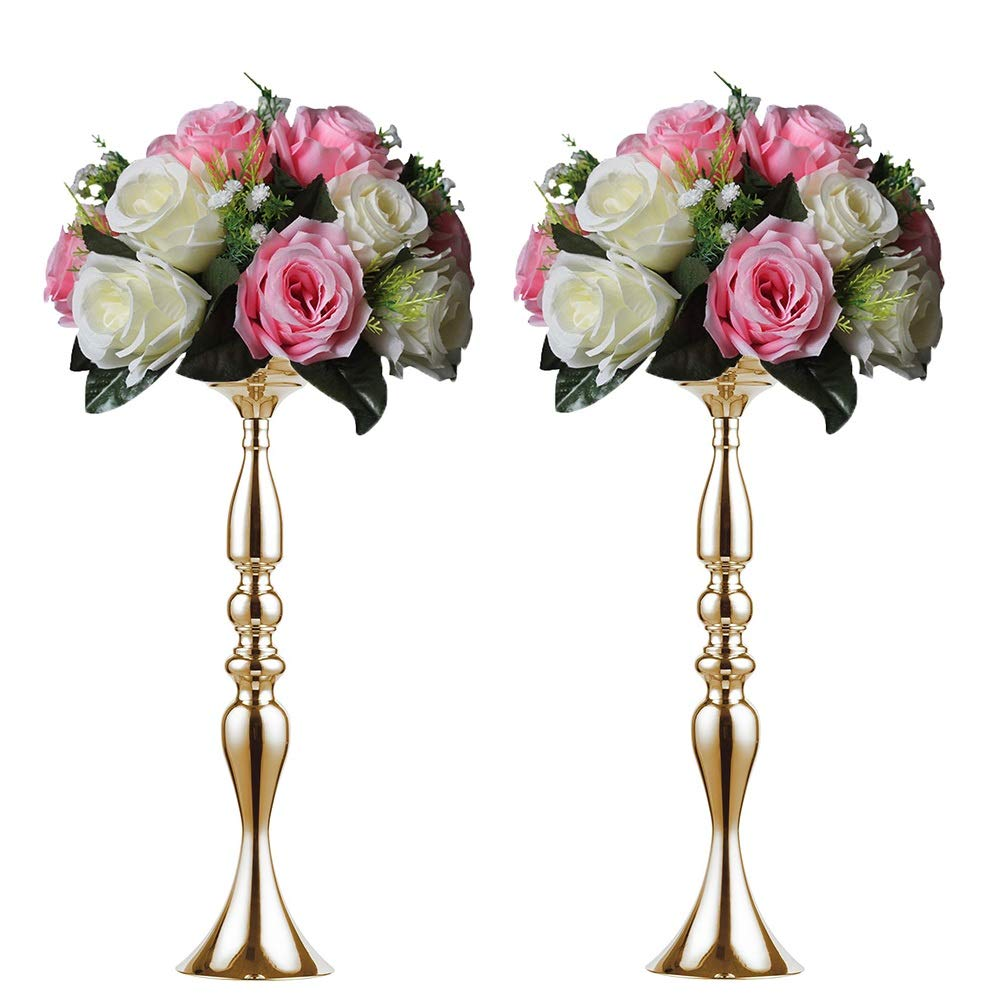 2 pieces 50cm height metal candle holder candle stand wedding centerpiece event road lead flower rack (Glod x 2) …