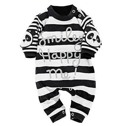 Bebé recién nacido bebé Niños niña Pelele de rayas panda impresión mono trajes ropa, Negro