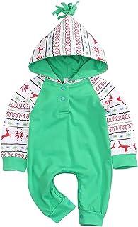 Cenhope Baby Girls Boys Christmas Jumpsuit Deer Print Long Sleeve Hoody Romper