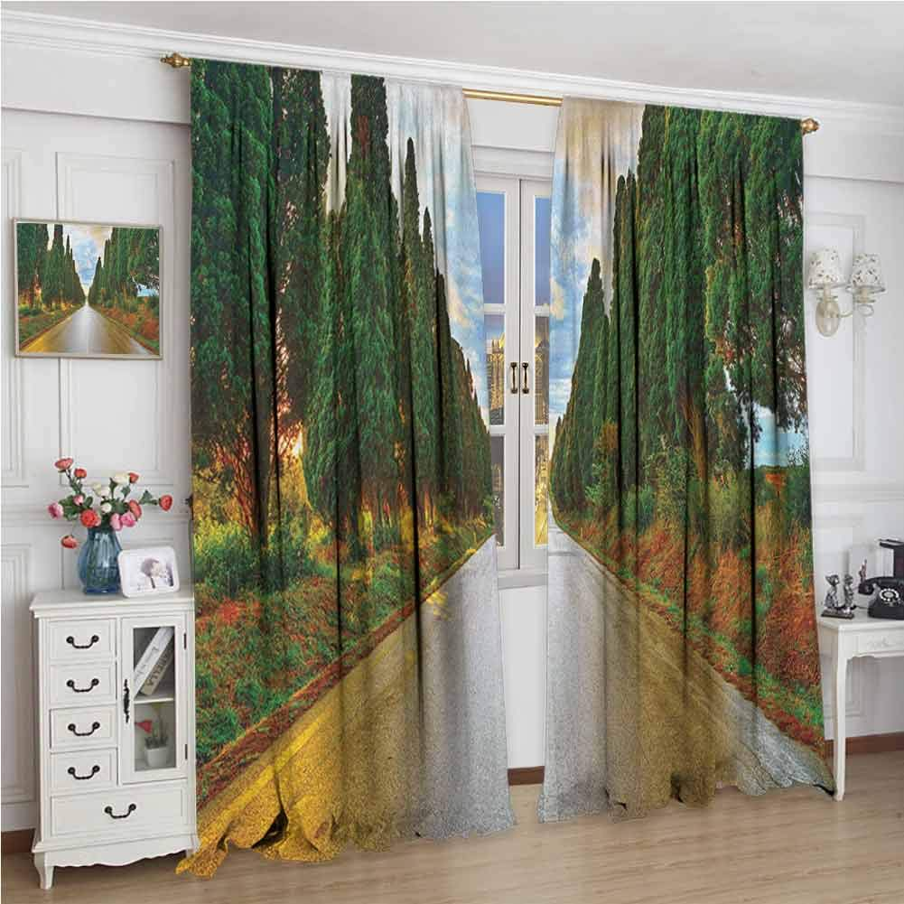 GUUVOR Italian 99% Blackout Curtains Boulevard with Trees Old European Village Country Life Destination Artistic Photo for Bedroom Kindergarten Living Room W108 x L96 Inch Multicolor by GUUVOR