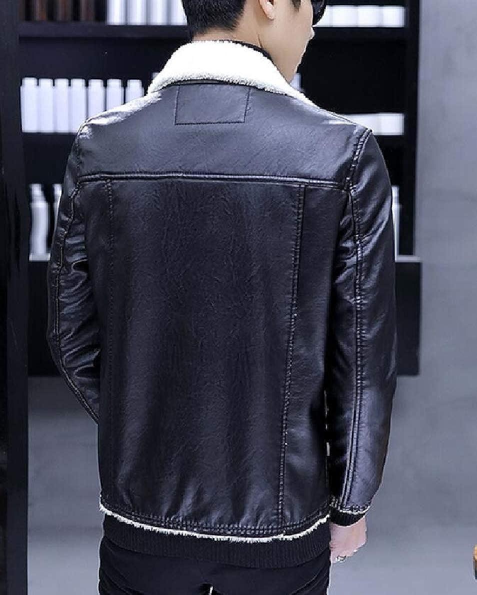 ONTBYB Mens Fleece Lined Motorcycle PU Faux Leather Jacket Zipper Winter Coat