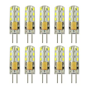 Rayhoo 10pcs G4 Base 24 LED Light Bulb Lamp 1.5 Watt AC DC 12V/10-20V Non-dimmable Equivalent to 10W T3 Halogen Track Bulb Replacement 360° Beam Angle(White 5800-6200K)