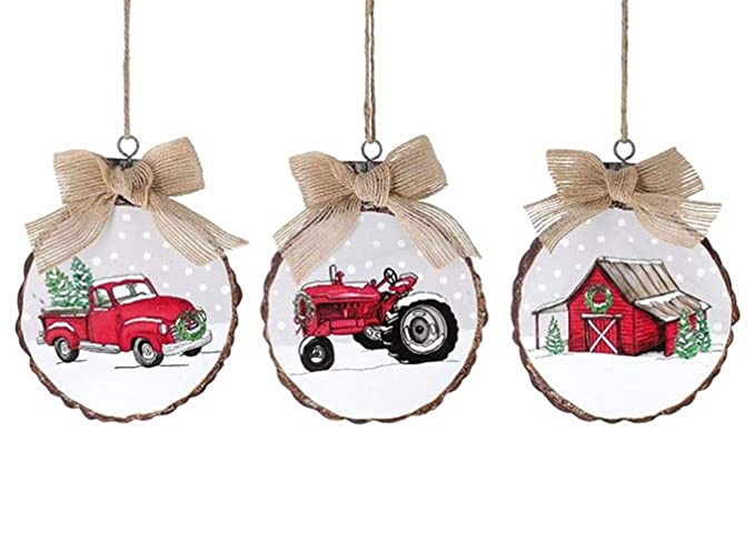 Down Home Collection Farmhouse Tree Ornaments Holiday Vintage Truck Barn Wood Large Rustic 3PC