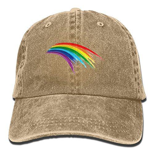 Uanqunan Rainbow Road Unisex Cotton Denim Baseball Cap Adjustable Strap Low Profile Plain Hats Natural