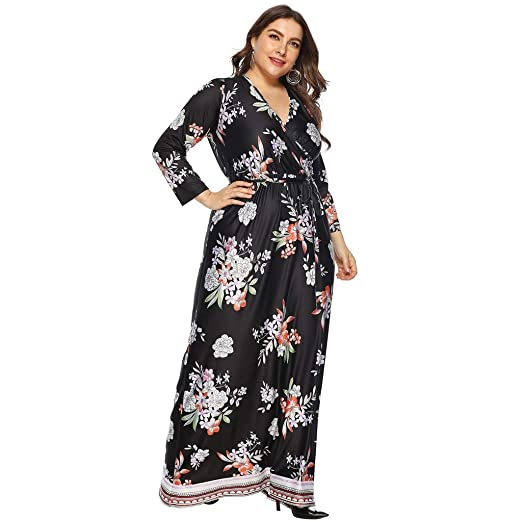 Gown Maxi Dresses for Women, Floral Plus Size Muslim Style ...