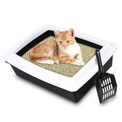 Flower205 Bandeja de arena para gatos, limpieza de mascotas grande y semicerrada suministros para baño