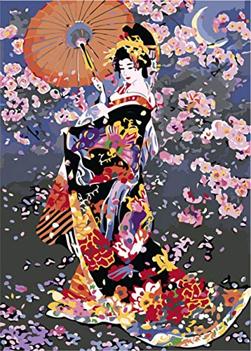 Koomt DIY Oil Painting by Numbers Acrylic Pigment Children Adult Hand-Painted Oil Painting Japanese Geisha 16X20 ()