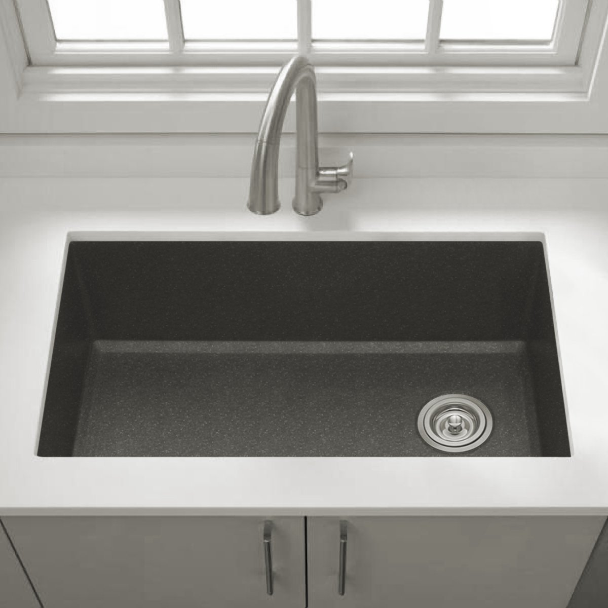 Granite Kitchen Sink : Zuhne Rialto 32 Inch Undermount Single Bowl Black      Amazon.com