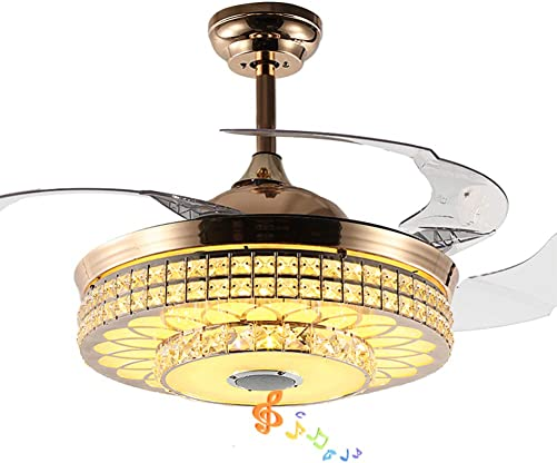 Fandian 42 Smart Bluetooth Crystal Ceiling Fans with Lights Retractable Blades Remote Control Chandeliers, 3 Colors Lighting, Music Speaker,Quite Motor Gold Fixtures for Bedroom, Living room