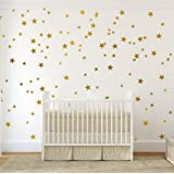 Gold Wall Decal Stars (123 Decals) | Easy to Peel Easy to Stick + Safe on Painted Walls | Removable Metallic Vinyl Star Decor |Star Sticker Large Paper Sheet Set for Nursery Room ((Metallic Gold))