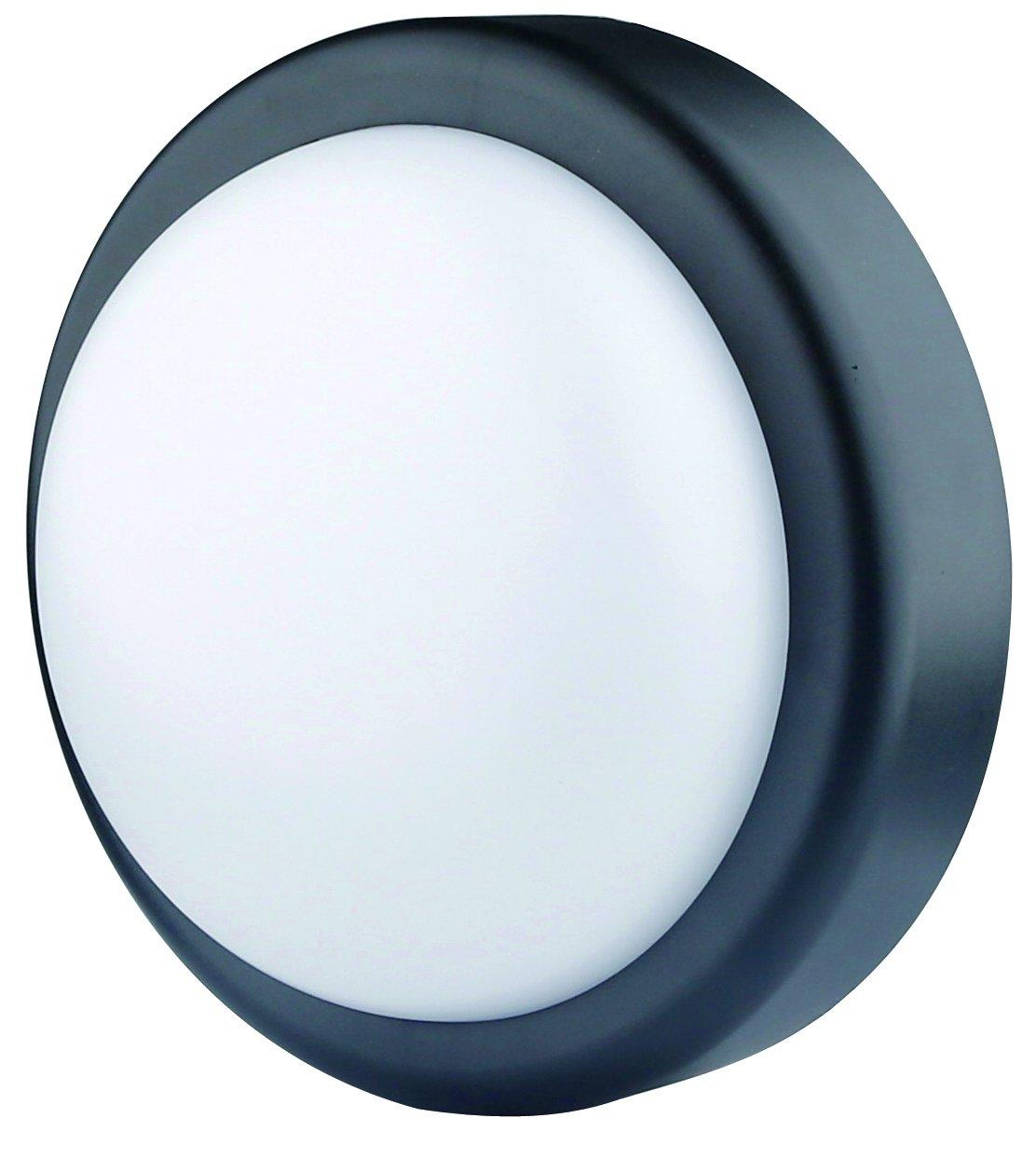 Electraline 65008 plafó n led hermé tica IP44, 14 W/150 W, 1000 LM, luz Natural, Negro 14W/150W 1000LM