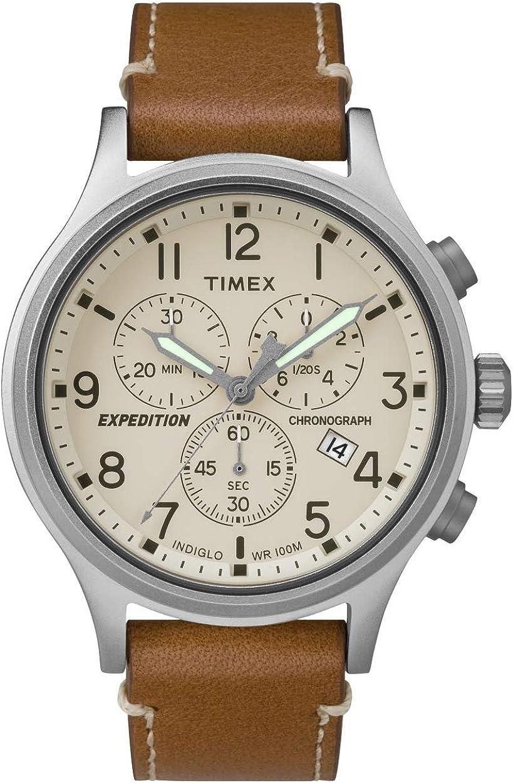 Timex Reloj Cronógrafo para Hombre de Cuarzo con Correa en Cuero TW4B09200