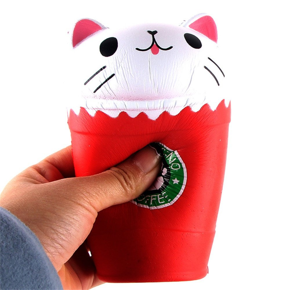 Squishies Jumbo Slow Rising Clearance for Kids! Lovely Squishy Yogurt Bottle Scented Squeeze Collection Toys Kawaii Cartoon Cut Coffee Cup Cat Stress Toys for Kids and Adults (Red)