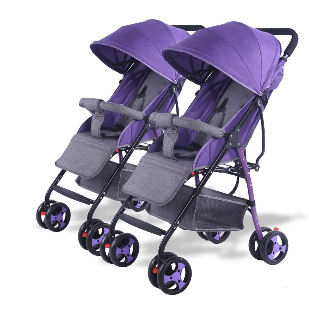 ベビーベビーカー、ベビーカー軽量折りたたみが座って横になることができますツイントロリーポータブルチャイルドショックアブソーバ幼児バギー (色 : Purple)  Purple B07Q1P143X