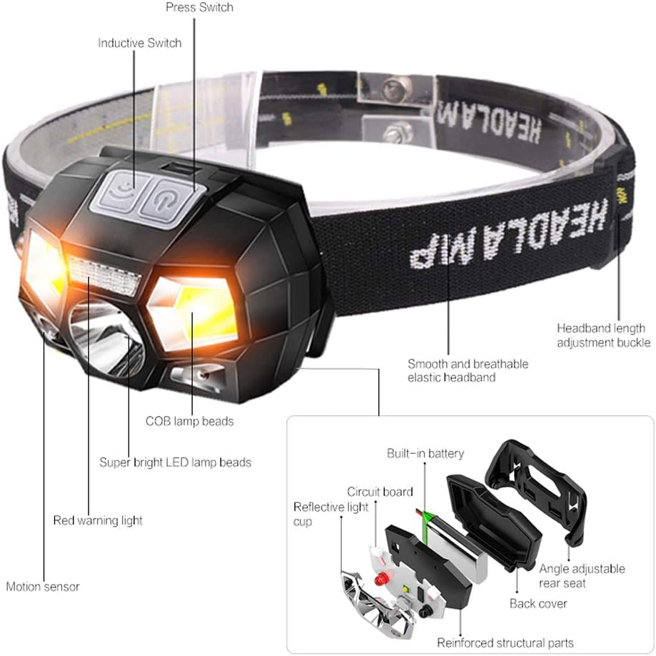 sensor de movimiento L/ámpara de cabeza de casco duro ultra brillante Linterna potente Linterna recargable a prueba de agua USB L/ámpara de cabeza de inducci/ón de 10000 l/úmenes