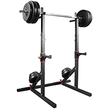Soporte para pesas trainhard soporte ancho y de altura ajustable con 1,6 M barra de pesas larga y 60 kg discos: Amazon.es: Deportes y aire libre