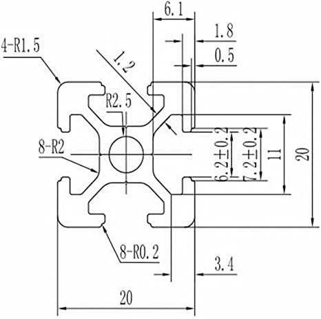FLAMEER Aluminum Frame 2020 T Slot Aluminum Profile Extrusion Frame for DIY Black 20cm//30cm//40cm//50cm//60cm - 60cm