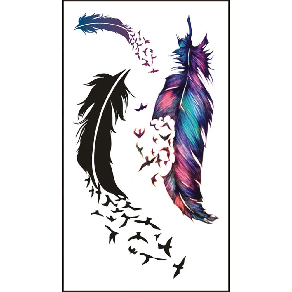 5PCS Feather Temporary Tattoos for Women Realistic 3D Waterproof Tattoo Stickers Fashion Non-toxic Body Art Arm Fake Tattoos for Men & Women (Black)