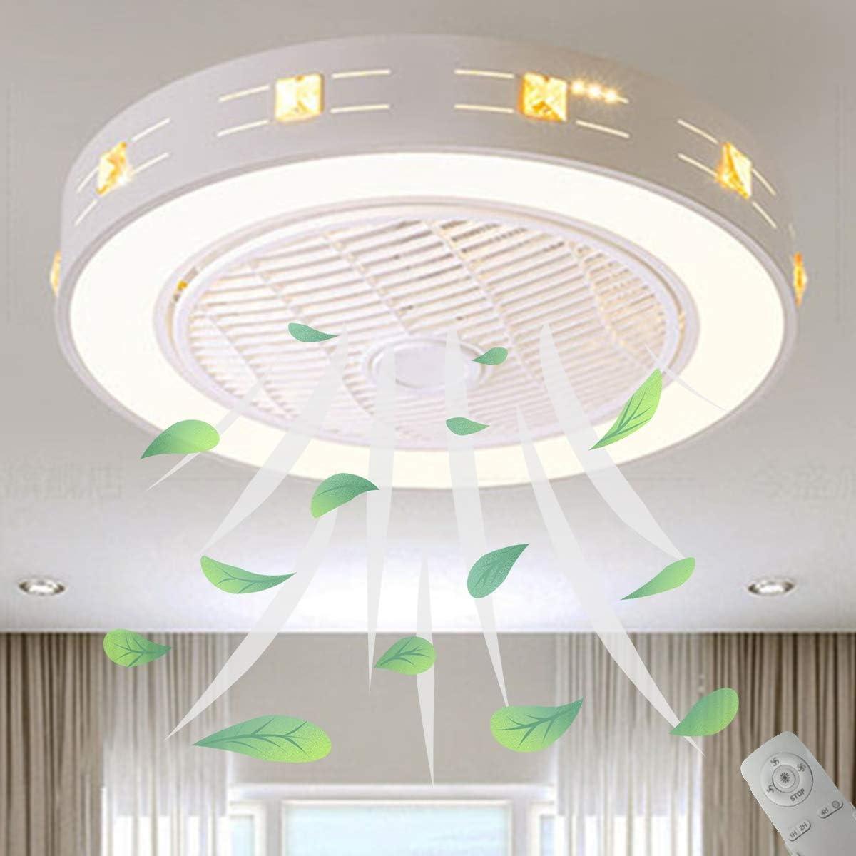 La Luz del Ventilador del Techo del, Φ55cm Ajuste de Luz de 3 Colores Invisible Luz de Ventilador con Control Remoto para La Lámpara del Dormitorio de Nursery, Sala de Estar,A