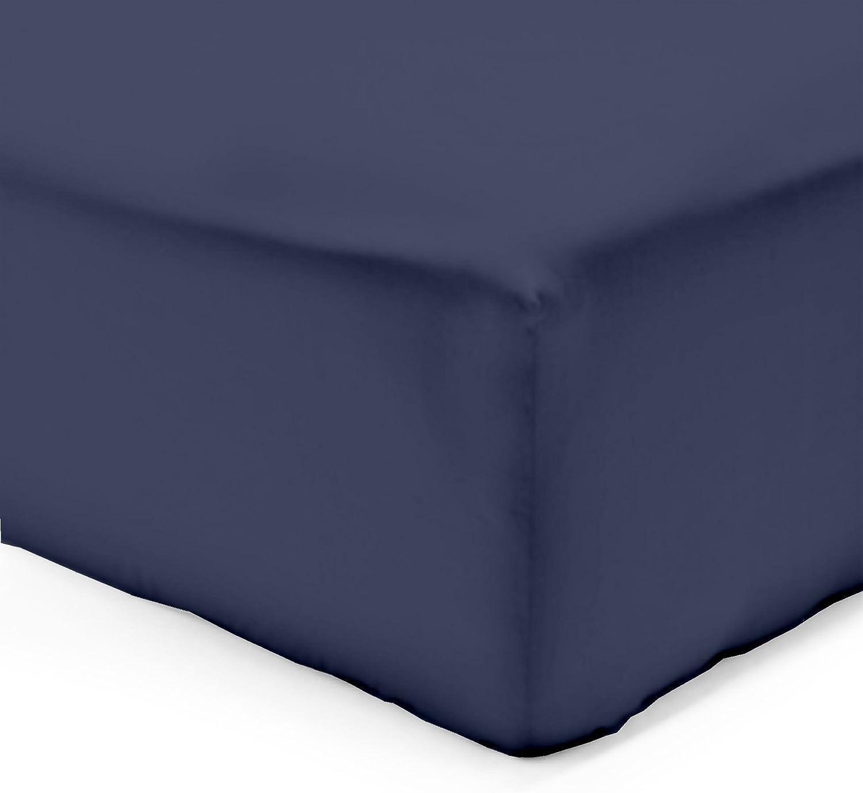 Vision Drap Housse Beige 180x200cm avec Bonnet de 30cm 100/% Coton