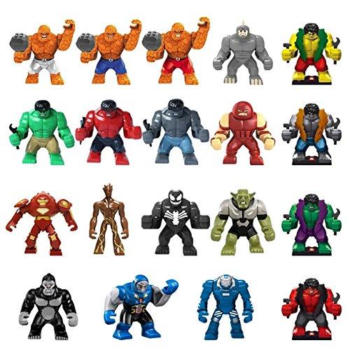 NW® 19pcs/lot Large minifigure Super Heroes Big Hulk/Thing/Venom Buster/Green Goblin/Lazy Rhino/juggernaut Action Minifigure(Without Original (Thing Superhero)