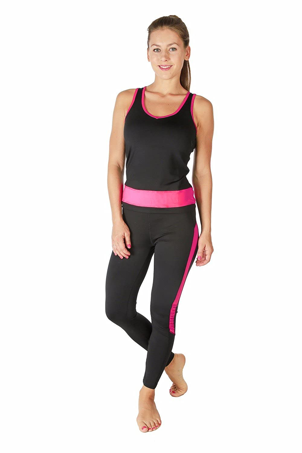 07f2b086ded25 Verscos Women's Stretch 3 Pieces Sets Top Tank Pant Leggings Jacket 64154  Large Fuchsia at Amazon Women's Clothing store: