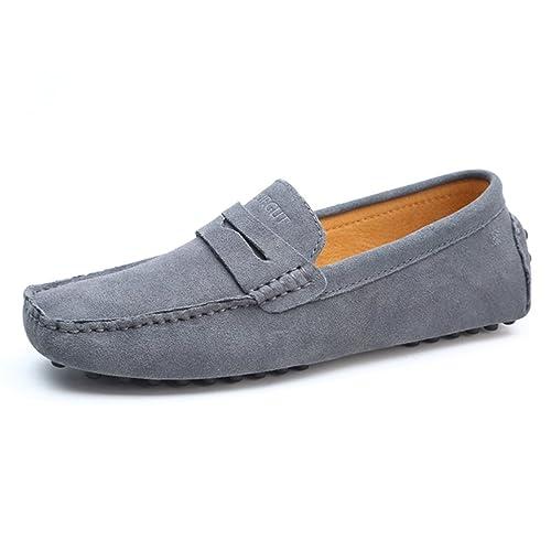 Hombres Mocasines Moda Verano Estilo Suave Mocasines Zapatos De Cuero AutéNticos Hombres Pisos De ConduccióN Zapatos: Amazon.es: Zapatos y complementos