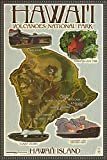 Hawaii Volcanoes National Park - Map of Hawaii (24x36 SIGNED Print Master Giclee Print w/ Certificate of Authenticity - Wall Decor Travel Poster)