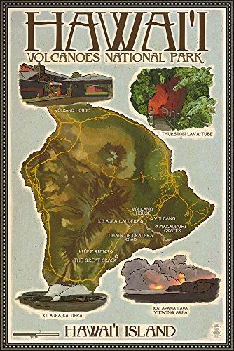 Hawaii Volcanoes National Park - Map of Hawaii (24x36 SIGNED Print Master Giclee Print w/ Certificate of Authenticity - Wall Decor Travel Poster) by Lantern Press