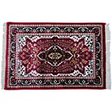 Indian Home D #233;cor Handmade Carpet Red Floral Antique Dollhouse Floor Covering Mat 36 quot;X24 q