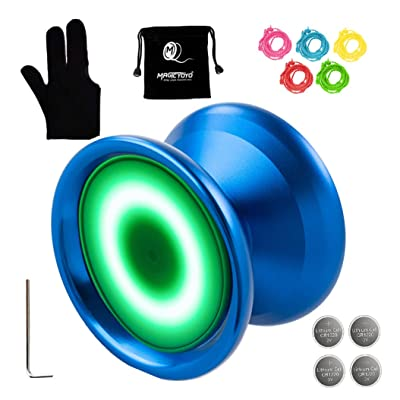 MAGICYOYO Y02-Aurora Light Up Professional Unresponsive Yoyo Blue with Led Lights with Glove, Yoyo Holster, 5 Strings, Green LED Light: Toys & Games