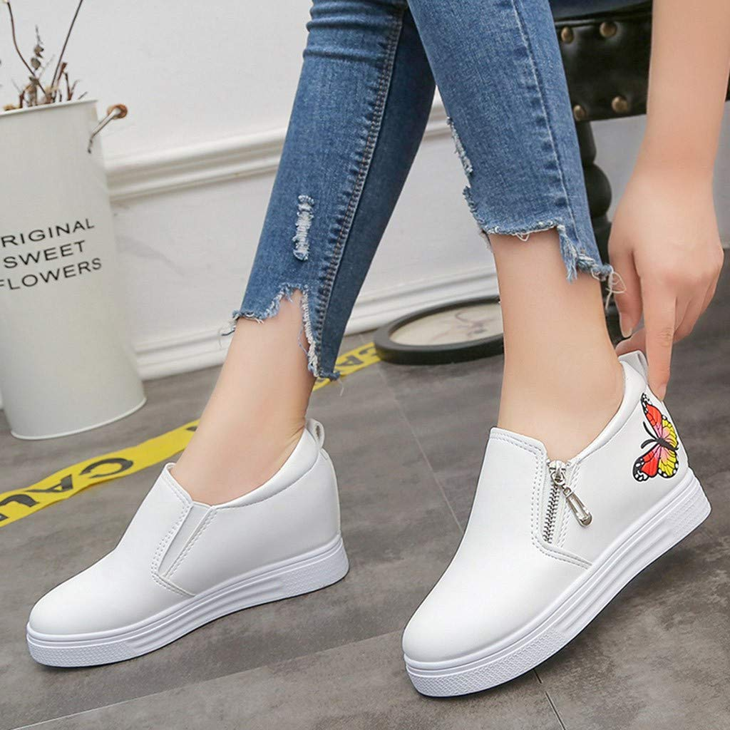 Women Sneakers Shoes Spring,Women Ladies Fashion Butterfly Flat Wedges Zip Loafers Sneakers Casual Shoes Amiley