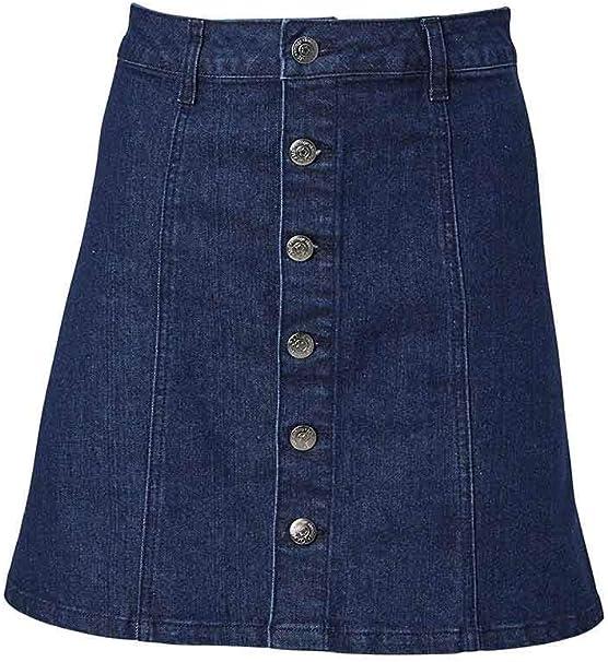 Joanie Clothing Rhoda A-Line Falda Vaquera con Botones: Amazon.es ...