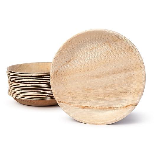 BIOZOYG DTW05379 plato de hoja de palma, 25 uds, redondo, Ø25 cm, biodegradable
