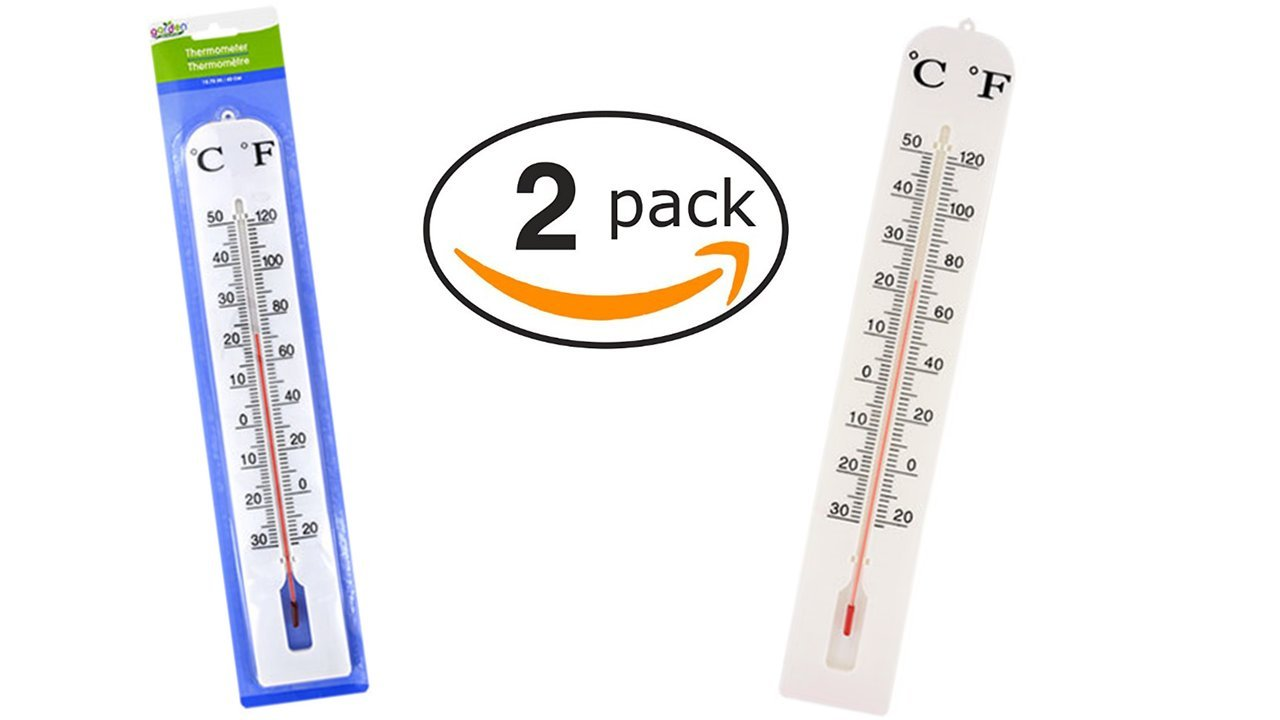 Outdoor Thermometer - Indoor Thermometer (2 Pack) Easy to Read Jumbo Thermometers - Temperature Gauge - Wall Thermometer